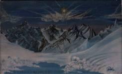 Vereiste Berglandschaft, Tempera on Canvas